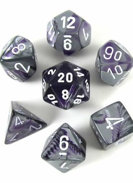 26432 Gemini Purple-Steel w/ White 7pc Dice Set