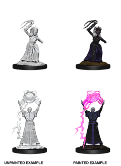 Drow Mage & Drow Priestess - D&D Unpainted Minis (WV12)
