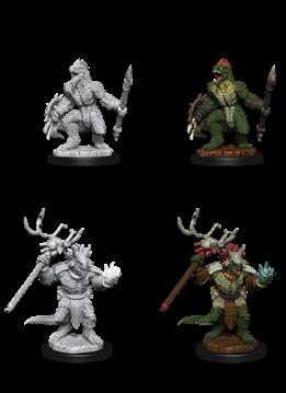 Lizardfolk & Lizardfolk Shaman - D&D Unpainted Minis (WV12)