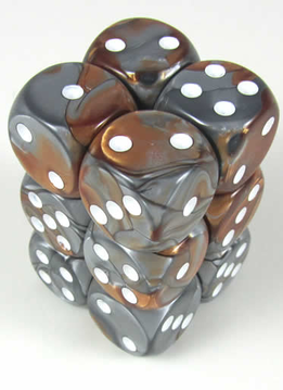 26624 Gemini Copper & Steel w/ White 12 d6 Dice Set