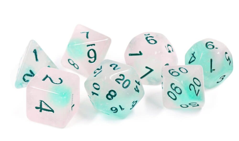 Frosted Glowworm 7pc Glow-in-the-Dark RPG Dice Set