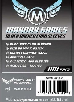 Mayday Black Backed Euro Card Sleeves -  59mm X 92mm (100ct)