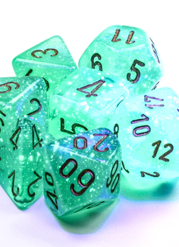 27575 - 7pc Borealis Light Green w/ Gold Dice Set Luminary (Glow-in-the-Dark)