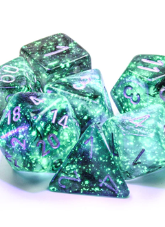 27578 - 7pc Borealis Light Smoke w/ Silver Dice Set Luminary (Glow-in-the-Dark)