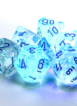 27581 - 7pc Borealis Icicle w/ Light Blue Dice Set Luminary (Glow-in-the-Dark)
