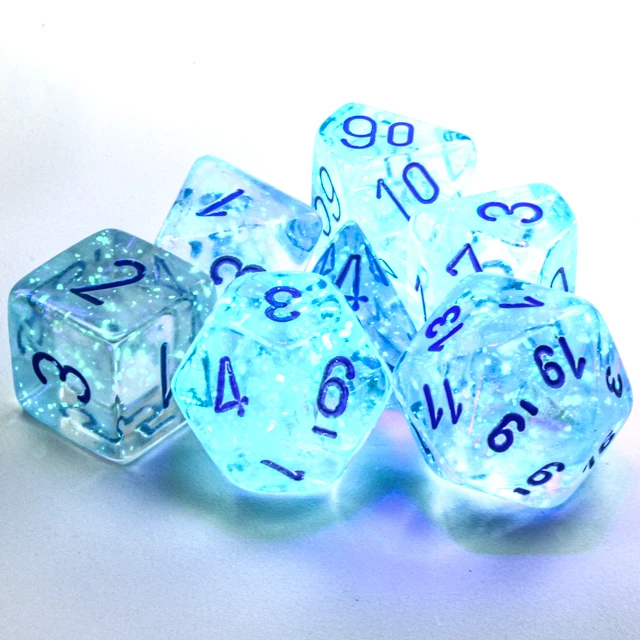 27581 - 7pc Borealis Icicle w/ Light Blue Dice Set Luminary (Glow-in-the-Dark)