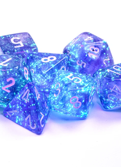 27577 - 7pc Borealis Purple w/ White Dice Set Luminary (Glow-in-the-Dark)