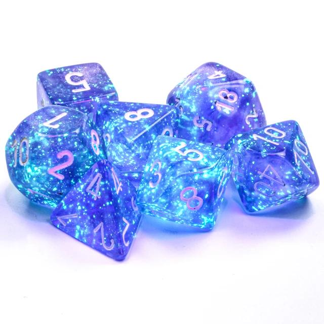 27577 - 7pc Borealis Purple w/ White Dice Set Luminary (Glow-in-the-Dark)