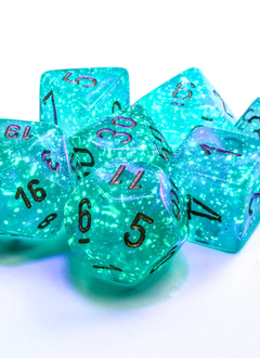 27585 - 7pc Borealis Teal w/ Gold Dice Set Luminary (Glow-in-the-Dark)