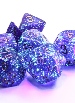 27587 - 7pc Borealis Royal Purple w/ Gold Luminary  Dice Set (Glow-in-the-Dark)