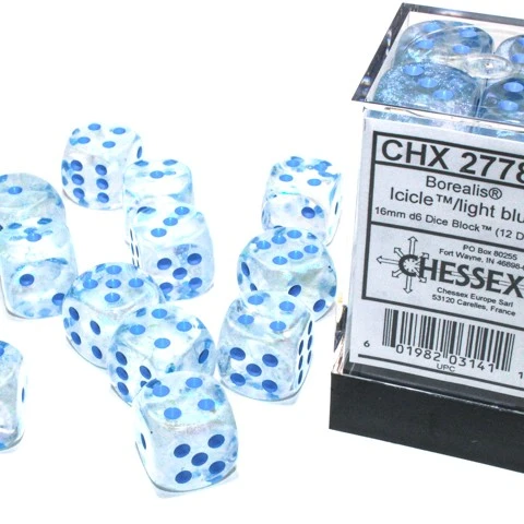 27781 - 12D6 Borealis Icicle w/ Light Blue Dice Set Luminary (Glow-in-the-Dark)