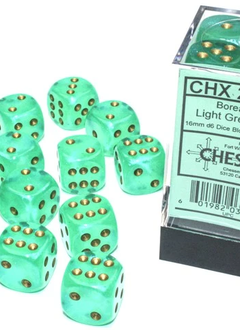 27775 - 12D6 Borealis Light Green w/ Gold Dice Set Luminary (Glow-in-the-Dark)
