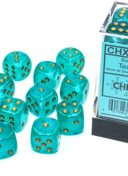 27785 - 12D6 Borealis Teal w/ Gold Dice Set Luminary (Glow-in-the-Dark)