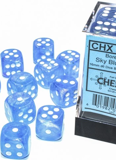 27786 - 12D6 Borealis Sky Blue w/ White Dice Set Luminary (Glow-in-the-Dark)