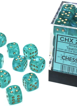27985 - 36D6 Borealis Teal w/ Gold Dice Set Luminary (Glow-in-the-Dark)