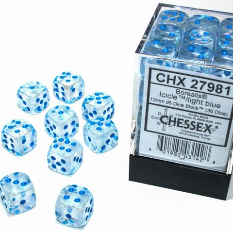 27981 - 36D6 Borealis Icicle w/ Light Blue Dice Set Luminary (Glow-in-the-Dark)
