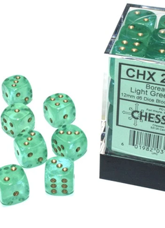 27975 - 36D6 Borealis Light Green w/ Gold Dice Set Luminary (Glow-in-the-Dark)