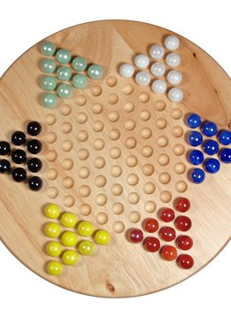 """Chinese Checkers, 11.5"""" Wood w/ Marbles"""
