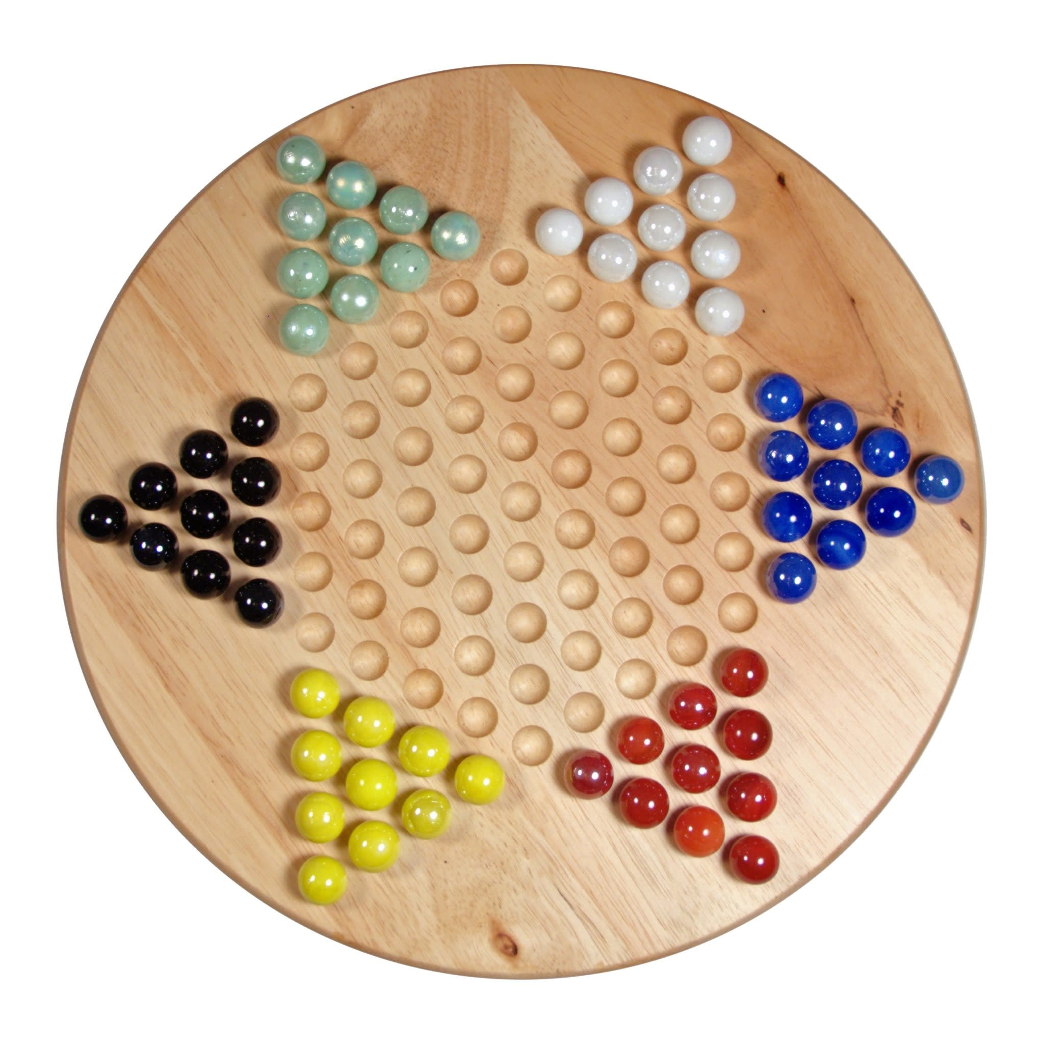 "Chinese Checkers, 11.5"" Wood w/ Marbles"