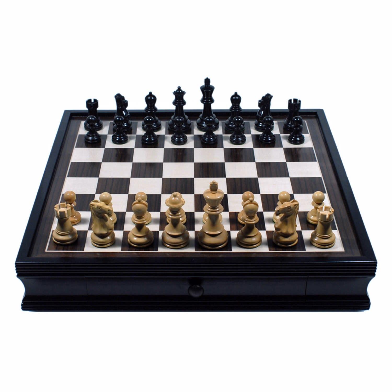 Chess Set Black Standard w/Storage, 19pcs