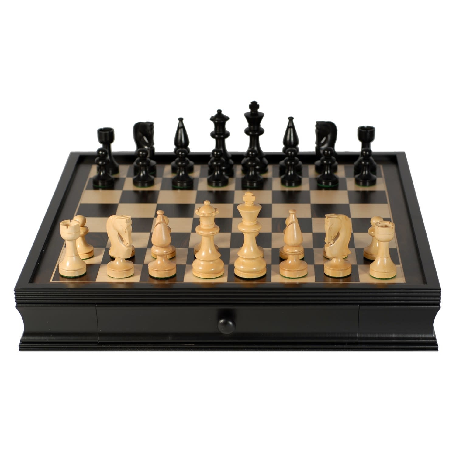 Grand Russian Style Chess Set with Storage Drawers - Weighted Pieces & Black Stained Wood Board 19 in.
