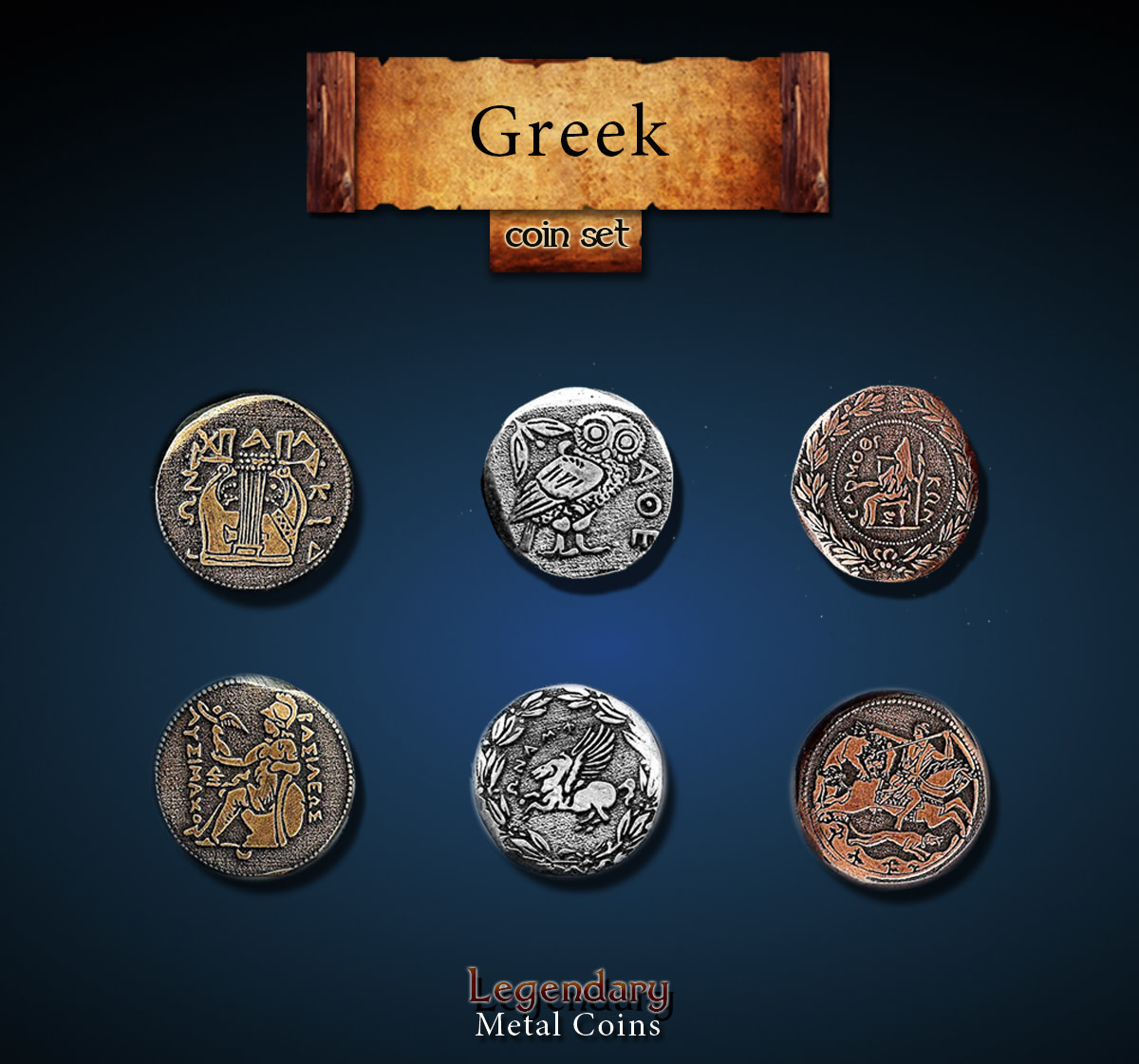 Legendary Metal Coins: Greek (24pcs)