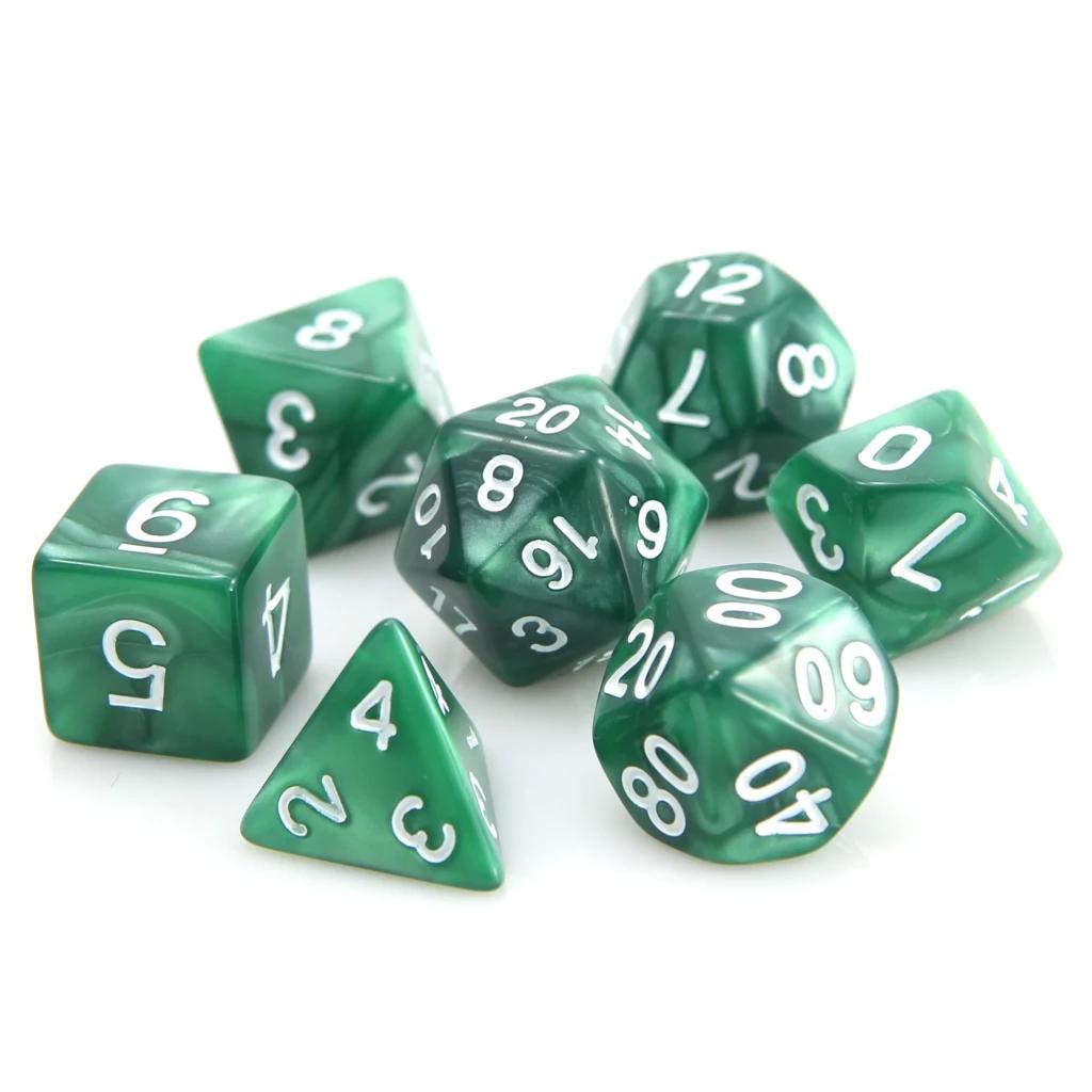 RPG Dice Set: Dark Green Swirl w/ White