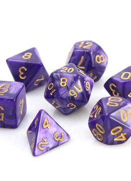 RPG Dice Set: Purple Swirl w/ Gold