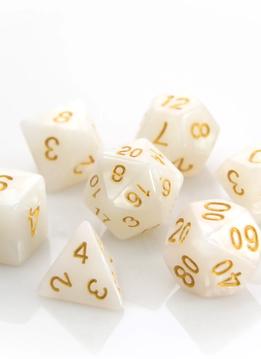 RPG Dice Set: Pearl w/ Gold
