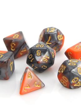 RPG Dice Set: Orange / Silver Alloy