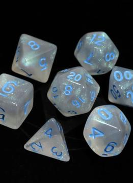 RPG Dice Set: Glacial Moonstone w/ Blue