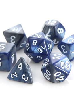 RPG Dice Set: Silver / Blue Alloy
