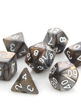 RPG Dice Set: Silver / Gold Alloy