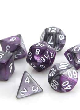 RPG Dice Set: Silver / Purple Alloy