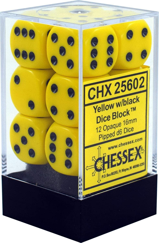 25602: 12D6 Opaque Yellow w/ Black Dice Set