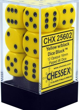 25602: 12D6 Opaque Yellow w/ Black Dice Set