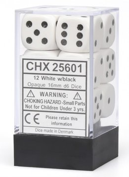 25601: 12D6 Opaque White w/ Black Dice Set