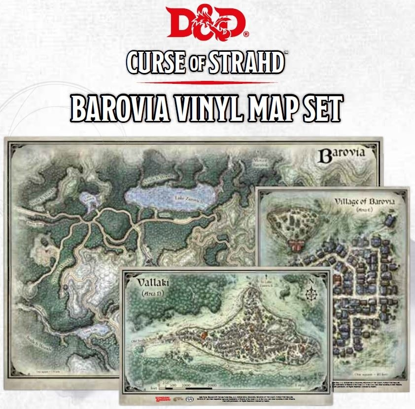 D&D: Curse of Strahd - Barovia Vinyl Map Set (24x16, 14x9, 13x10 in)