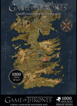"""Puzzle: Game of Thrones - Cersei Lannister Westeros Map 20""""x27"""" (1000pc)"""