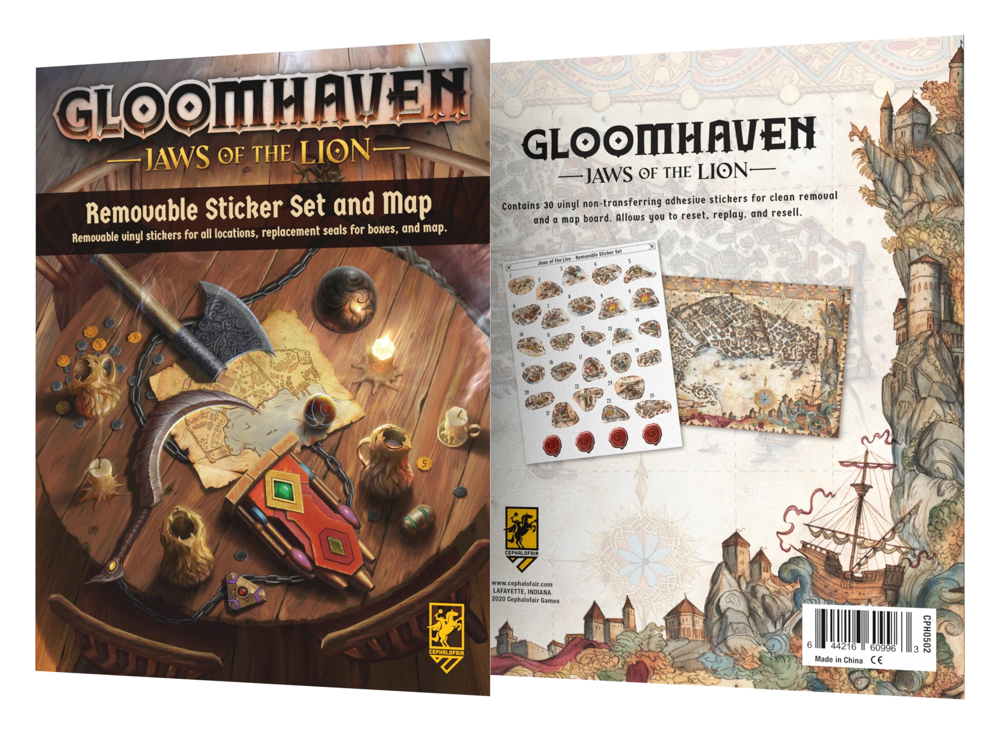 Gloomhaven: Jaws of the Lion - Removeable Sticker Set & Map
