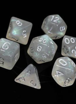 RPG Dice Set: Glacial Moonstone w/ Silver