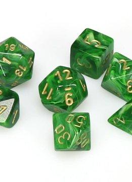 27435: 7pc Dice Set Vortex Green with Gold