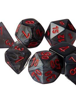 27478: 7pc DIce Set Velvet Black with Red