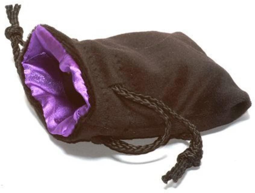 "Velvet Dice Bag 3"" x 4"" Black/Purple"