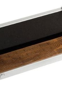 3 Color Tracks Walnut Cribbage Board w/ Cards, Pegs and Aluminum Transport Case
