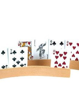 Set of 2 Wooden Card Holders -  1 Slot Curved