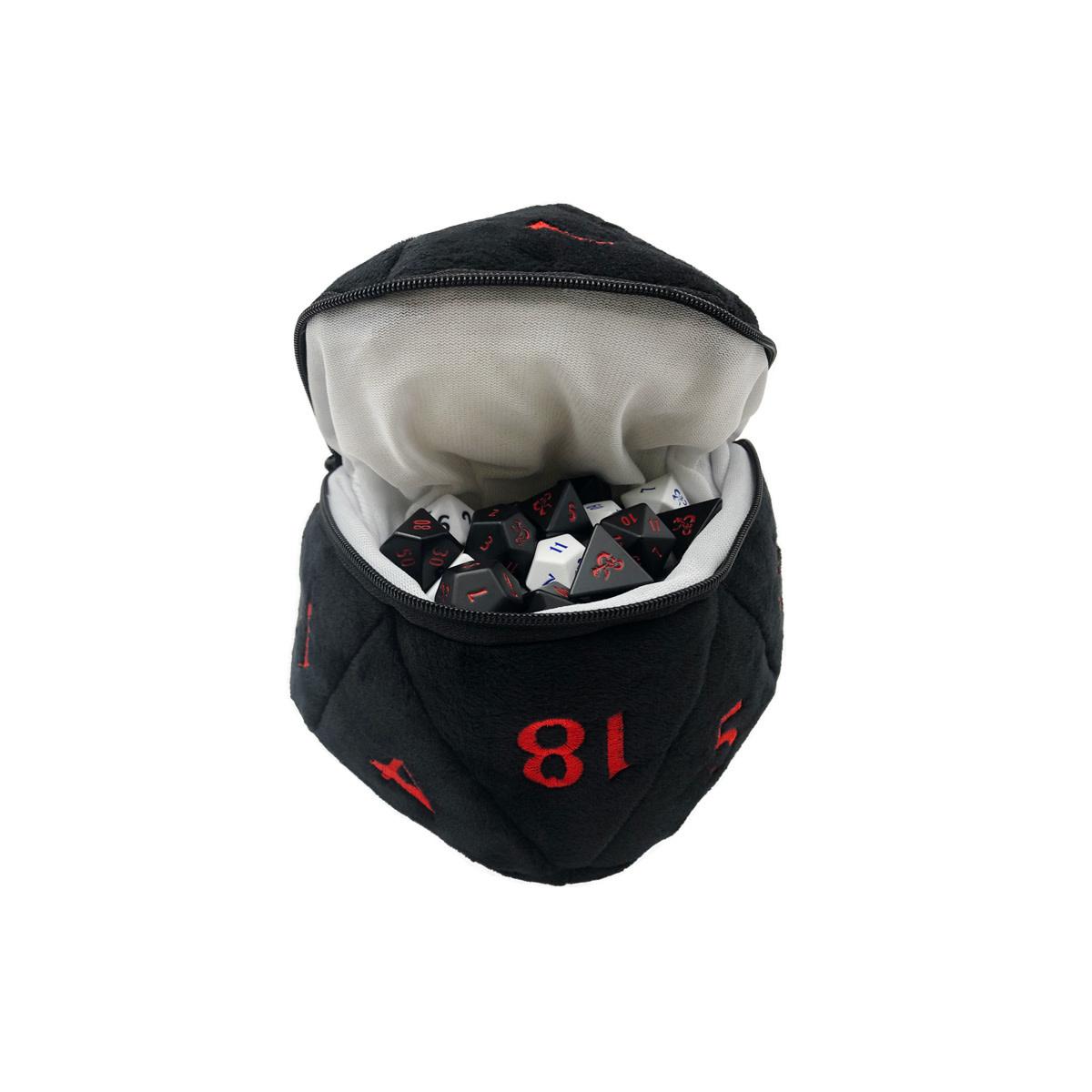 D&D Black and Red D20 Plush Dice Bag