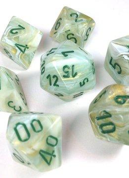 27409: Marble Green w/ Dark Green 7pc Dice Set