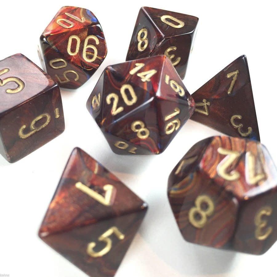 27419 Scarab Blue Blood w/ Gold 7pc Dice Set