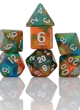 7-Dice RPG Set Persimmon Punch Orange/Blue/Green